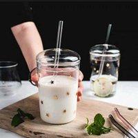 Mugs 460ml Heat Resistant Glass Cup Transparent Coffee Mug With Lid&Straw Home Milk Juice Flower Tea Travel Drinking
