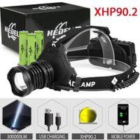 300000 LM XHP90.2 LED Kafa Lambası XHP90 Yüksek Güç Far Torch USB 18650 Şarj Edilebilir XHP70 Far XHP50.2 Zoom Kafa Işık