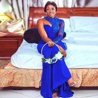 Aso Ebi Bridesmaid Dresses High Collar Lace Applique Hot Drill Vestidos De Fiesta One Long Sleeve Wedding Guest Dress