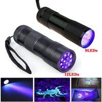 Portátil LED Lanterna 9 12 LEDs UV Lâmpada 365-400nm Detector Luz para Cão Gato Urina Pet Stins Bed Bugs Escorpiões Máquinas Vazamentos Inspeção