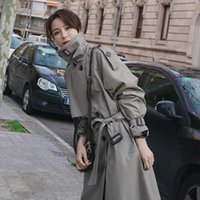 Coat Jacket Woman Trench Fashion British Long Bandage Botton Windbreaker Lingerie Clothes Vintage Outerwear Women's Jackets