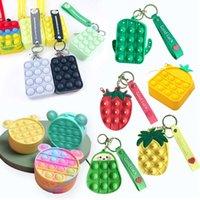 Fashion Push Bubbles Toy Rainbow Unicorn Kawaii Coin Purse Children Wallet Ladies Bag Silica Gel Simple Dimple Fidget Toy HT
