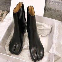 Tasarım Tabi Boot Split Toe Tıknaz Yüksek Topuk Kadın Çizmeler Deri Zapatos Mujer Moda Sonbahar Bayan Ayakkabı Botas Mujer1