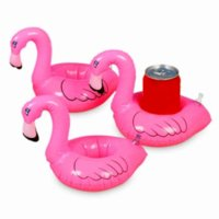 Mini Flamingo Pool Float Drink Holder Can Inflatable Floating Party Swimming Bathing Summer Beach Kid Toys gyq