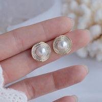 Stud Fashion Brand Jewelry 14K Gold Plated Pearl Earrings For Women Gift Shining Zircon Cute Small