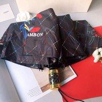 黒と白の折りたたみ傘シンプルスタイルの手紙大きな花の椿ラウンドハンドル傘c
