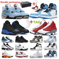 men basketball shoes jumpman 13s red Flint Hyper Royal 1s Un...