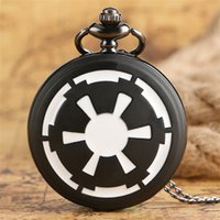 Steampunk Bronze Black & White Quartz Pocket Watch Cool Darth Vader's Shield Shape Design Watches with Necklace Chain for Boy