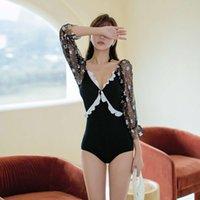 Ins style instance и корейский новый животный купальник с длинным рукавом один кусок высокая талия бикини сексуальный купальник женские купальники