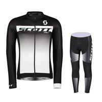 Hombres Scott Ciclismo Jersey Traje deportivo al aire libre Camisetas de manga larga Camisetas Pantalones de babero Conjuntos Transpirable Ropa de bicicleta Dry MTB transpirable H042016