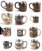 Son Kafatası Kupalar Paslanmaz Çelik Viking Içme Kupası İskelet Bira Stein Tankard Kahve Kupa Çay Tumbler Cadılar Bayramı Bar Drinkware Hediye FY4730 CS29