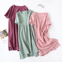 Summer Loose Nightgown Short Sleeve Women Sleepwear Night Dress Gauze Cotton Pink Navy Home Clothes Dresses Homewear