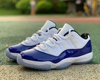 Оригинальная версия Jumpman 11 Low Concord Баскетбольная обувь Синий Белый Реальный Углеродное Волокно 11s Бегущие кроссовки Мужчины Спортивные тренеры поставляются с коробкой