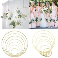 Wedding Decoration DIY Bamboo Metal Wreath Garland Hanging Iron Ring Hoop For Christmas Bridal Shower Home Party Decor Wreaths Decorative Fl