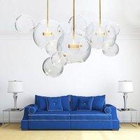 Wongshi Moderne Klarglas LED Pendelleuchte Seifenblase Kugelhalterung Indoor Beleuchtung Glanz Luminaria Hängende Schlafzimmerlampen