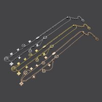 Europe America Fashion Jewelry Sets Lady Women Titanium steel Hollow Out Flower V Initials Tassels Double Deck Necklac Bracelet Earrings M64855 M64858 M64859