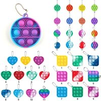 Party Favor Push Bubble Sets Sensory fidget funny Finger Toy adult Dimple Keychain silicon Anti Stress Board AHF7722