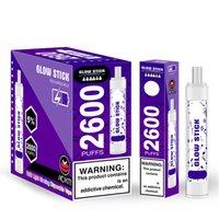 ORIGINAL GLOWT STICK DESECHABLE E-CIGURTOS DE CIGUETOS DE COMPAILLO CON LUZ LUTINOSA LUZ DE LUZ 2600 Puffs Batería recargable 8ml Preculada Vape Pen 650mAh Cigarrillos Electrólicos