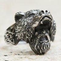 Cool Black Color Viking Bear Warrior Ring Men Boys Stainless Steel Punk Biker Rings Vintage Nordic Celtics Knot Jewelry Cluster