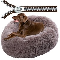 Super Large Dog Bed With Zipper Removable Cover Long Plush Round Pet Dog Sofa Bed Cat Mats House Washable Cushion Dogs Warm Sleeping Dog Kennel