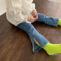 Jeans 2021 printemps bébé fille filles denim flare pantalon couleur solide couleur enfant enfant enfant coréen style enfants pantalons enfants