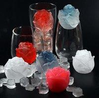 3D Rose Molde Silicona Jabón Vela Moldes Moldes Herramientas Cubo de hielo Bandeja DIY Hogar Icemaker Whisky Accesorios de decoración de vino GGA5030