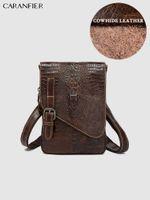 Duffel Bags CARANFIER Mens Travel Shoulder Crossbody Genuine Cowhide Leather Crocodile Pattern Messenger Business Briefcases