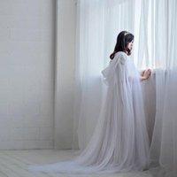 Wraps Jacken Weiß Braut Tüll Frauen Abend Bolero Cape Für Braut Kleid Mantel Hochzeitszubehör Lange Mantel Tücher J09