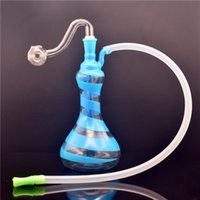 New design mini glass beaker bongs thick pyrex smoking water pipe recycler dab rigs shisha hookah with 10mm glass oil burner pipe and hose