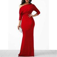 Women Oblique Shoulder Slim Folds Long Dress Elegant Evening Party Floor Length Dresses Vestido de festa G1011