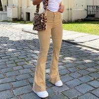 Rahat Katı Y2K Flare Kot Kızlar Için Kadın Moda 2021 Bayan Vintage Denim Pantolon Yüksek Beledilmiş Pantolon Harajuku Capris
