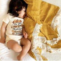 Одеяла, рававшие рожденные детки детские хлопчатобумажные постельные принадлежности кисточкой Pogogrape Muslin Swarddle одеяло неонаталь Po реквизиты одеяло