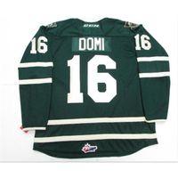 Benutzerdefinierte 009 Jugendfrauenweinlese # 16 Max Domi Ohl London Ritter Grün Weiß Premier OHL Hockey Jersey Größe S-5XL oder Benutzerdefinierte Name oder Nummer