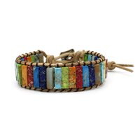 Tennis Multi Color Sea Sediment Chakra Bracelet Natural Stone Woven Handmade Tube Beads Leather Wrap Jewelry Gifts