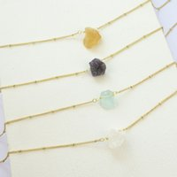 18 Inch Gold Plating Chain Raw Crystal Stone Pendant Necklace Rough Cut Natural Stone Handmade Necklace
