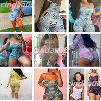 Sexy Summer Woman Sumpsuit Designer Slim Pijama Onesies Nightwear Body Body Botón Pinkly Mampers Imprimir Shorts Leggings