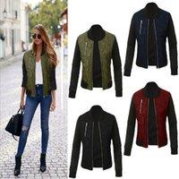 LeoSoxs осень зима мода твердой женской куртки o шея молния шить стеганый бомбардировщик топы женские джекветы пальто плюс размер