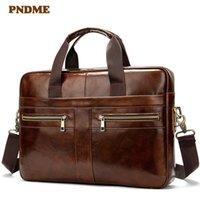 HBP PNDME Retro Simples de Couro Genuíno Masculino Pasta Casual Macio Top Camada de Caçura Business Office Messenger Bags Brown Laptop Bag q0112