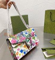 2021 verão floral impressão mulheres cadeias mensageiro sacos luxurys designers bolsa de ombro colorido vintage de alta qualidade cross bodybags ferradura fivela bolsa de fivela