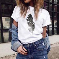 Women's T-Shirt Harajuku Summer Tshirt Women Fashion Feather Print O-Neck Short Sleeve Top Tees Casual Streetwear Clothing