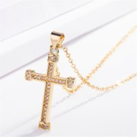 24k Gold Diamond Jesus Cross Necklace pendant Crystal row Necklaces women men fashion jewelry will and sandy