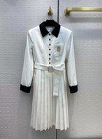 Tasarımcı Elbiseler 2021 Sonbahar Kış Yaka Boyun Uzun Kollu Pileli Elbise Moda Milan Pist Marka Aynı Stil Etekler Kadın 1014-15