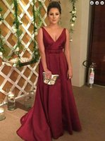 Burgundy Satin Mother of the Bride Dresses for Wedding Party Open Backless Deep V Neck Evening Prom Gowns A Line Floor Length Custom Size 2021 Modern