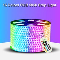 110V 220V LED Strip 5050 50m 100m IP65 Waterproof RGB Dual Color Rope Lighting For Outdoor With RF Remote Controller In Stock