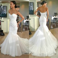 Lace Mermaid Wedding Dresses Sweetheart Lace Tulle Sweep Train 2019 Simple Design Bridal Gowns Zipper Back Custom Made W966