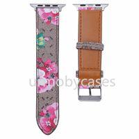 Designer-Uhr-Bands für Apple iWatch 2 3 4 5 Mode-Druckbuchstabe G 38 / 40mm 42 / 44mm Qualitäts-Lederarmband