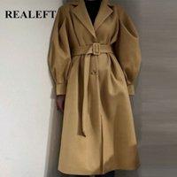 Realfef осень зима фонарь рукава твердых женщин пальто цыпочки 2020 магистрали классический длинный траншею пальто женские ветровавые карманы S9T2 #
