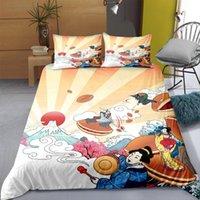 مجموعات الفراش 2/3 قطع النمط الياباني مجموعة رسمت 3d الطباعة المعزي غطاء مع وسادات لينة السرير البياضات التوأم كامل الملكة الملك الحجم