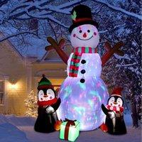 6 voet hoge opblaasbare sneeuwpop, sneeuwman en pinguïn met kleur geleid roterend licht, buiten, kinder decoratief speelgoed