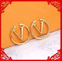 Mode Womens Grote Cirkel Simple Oorbellen Hoop Oorbel voor Vrouw Hoge Kwaliteit Luxurys Ontwerpers Oorbellen Merken Gold Ear Stud 21060103DQ